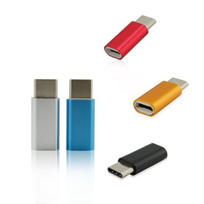 Picture of colorful metal housing USB C to Micro female adapter